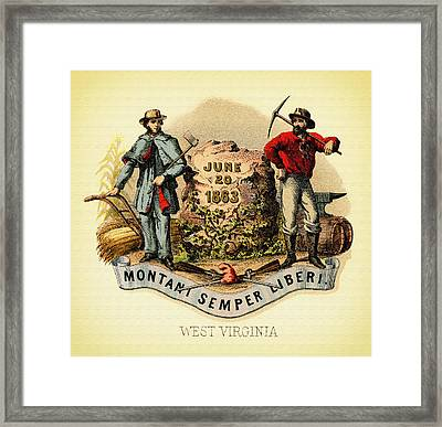 West Virginia Coat Of Arms - 1876 Framed Print by Mountain Dreams