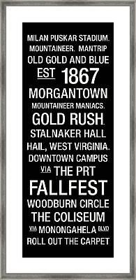West Virginia College Town Wall Art Framed Print