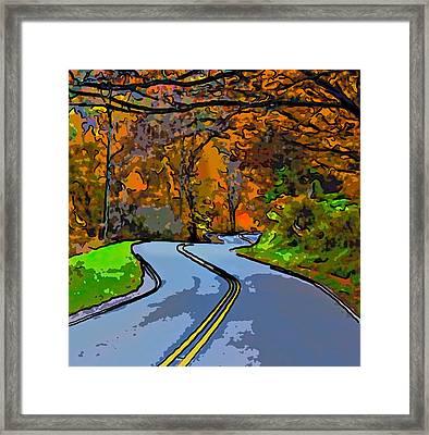 West Virginia Curves 2 Line Art Framed Print by Steve Harrington