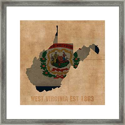 West Virginia State Flag Map Outline With Founding Date On Worn Parchment Background Framed Print by Design Turnpike