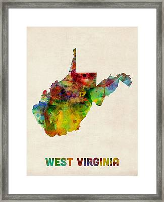West Virginia Watercolor Map Framed Print by Michael Tompsett