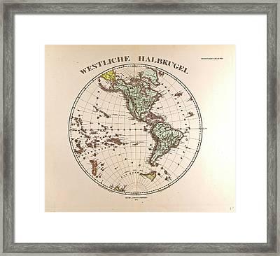 Westen Hemispheregotha Justus Perthes 1872 Atlas Framed Print