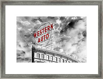 Western Auto Sign Downtown Kansas City B W Framed Print