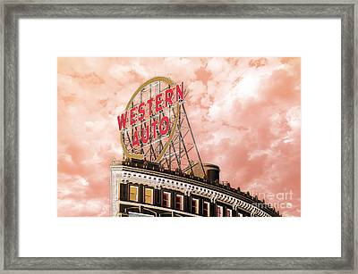 Western Auto Sign Downtown Kansas City In Pink Framed Print