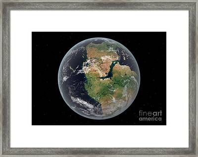 Western Hemisphere Of The Earth Framed Print by Walter Myers