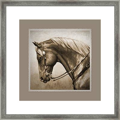 Western Horse Aged Photo Fx Sepia Pillow Framed Print