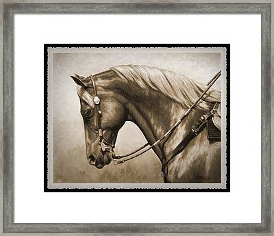 Western Horse Old Photo Fx Framed Print by Crista Forest
