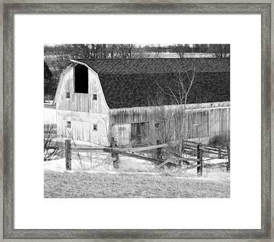 Western New York Farm 1 In Black And White Framed Print by Tracy Winter
