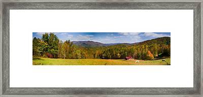 Western North Carolina Horses And Mountains Panorama Framed Print