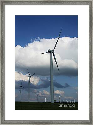 Framed Print featuring the photograph Western Oklahoma Wind Farm by Jim McCain
