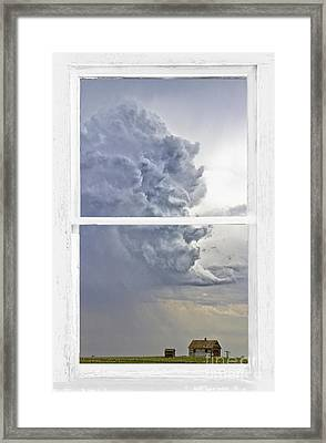 Western Storm Farmhouse Window Art View Framed Print by James BO  Insogna