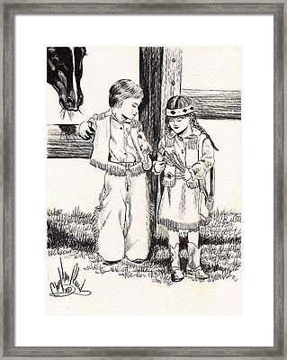 Western Style Puppy Love Framed Print
