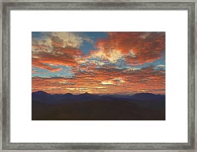 Framed Print featuring the digital art Western Sunset by Mark Greenberg