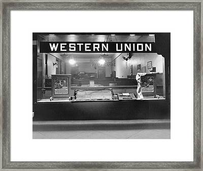 Western Union Telegraph Office Framed Print by Underwood Archives