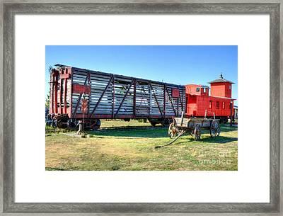 Western Wagon Train Framed Print by Mel Steinhauer