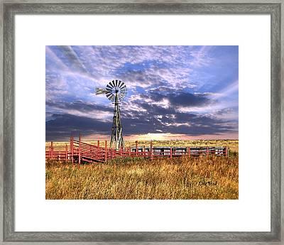 Western Windmill Framed Print