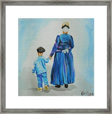 Westfriese Woman And Boy Framed Print