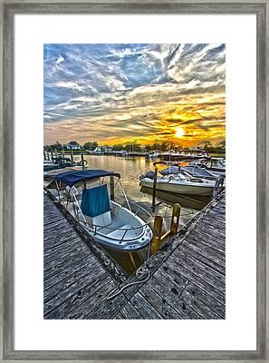 Westhampton Beach Marina Sunset Framed Print