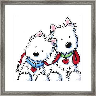 Westie Dog Park Duo Framed Print by Kim Niles