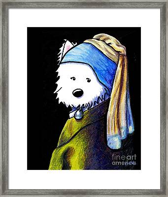 Westie Girl With Pearl Earring Framed Print