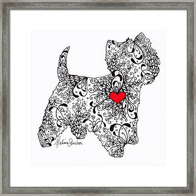 Framed Print featuring the drawing Westie by Melissa Sherbon