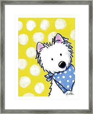 Westie On Dotted Yellow Framed Print by Kim Niles