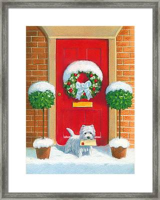 Westie Post Framed Print by David Price