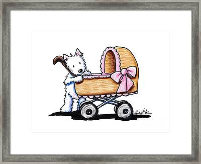 Westie Terrier Babysitter Framed Print by Kim Niles