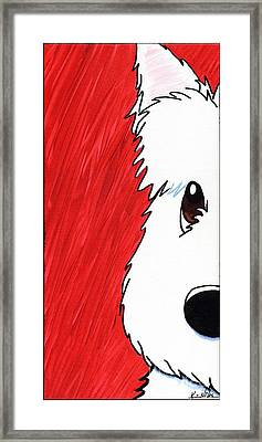 Westie Up Close On Red Framed Print by Kim Niles