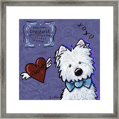 Westie Wall Framed Print by Kim Niles
