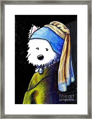 Westie With Pearl Earring Framed Print by Kim Niles