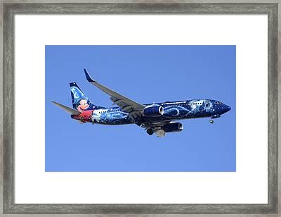 Westjet 737-8ct C-gwsz Magic Plane Phoenix Sky Harbor February 8 2015 Framed Print by Brian Lockett