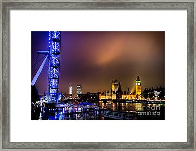 Westminster And Eye Night Glow Framed Print by Matt Malloy