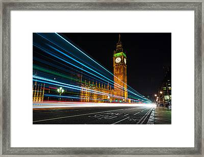 Westminster Light Trails Framed Print by Matt Malloy