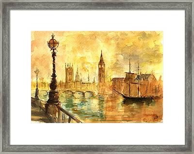 Westminster Palace London Thames Framed Print by Juan  Bosco