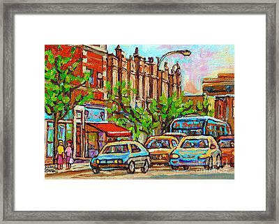 Westmount Street Scene Paintings - Bilboquet Ice Cream - Sherbrooke Street West - Montreal City Art Framed Print