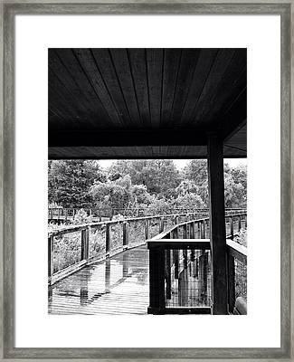 Boardwalk In Black And White 4 Framed Print