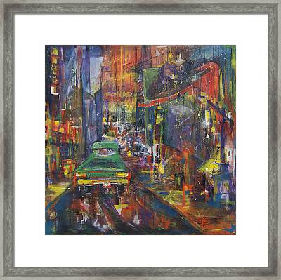 Wet China Lights Framed Print