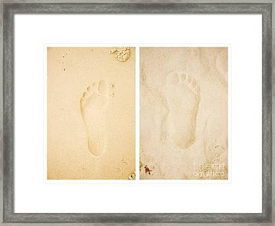 Wet Dry Footprints Framed Print