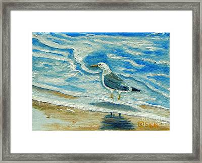Framed Print featuring the painting Wet Feet - Shore Bird by Shelia Kempf