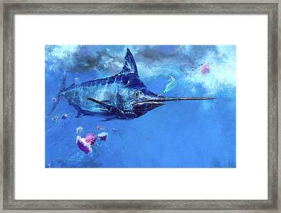 Wet Fly And Blue Marlin, Bill Wrapped Framed Print