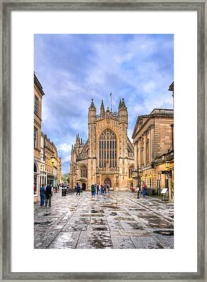 Wet Morning At Bath Abbey Framed Print by Mark E Tisdale