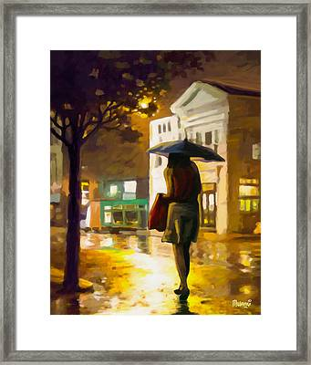 Framed Print featuring the painting Wet Night by Anthony Mwangi