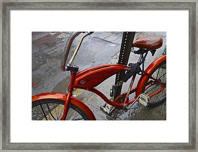 Wet Orange Bike   Nyc Framed Print