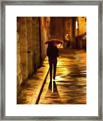 Wet Rainy Night Framed Print