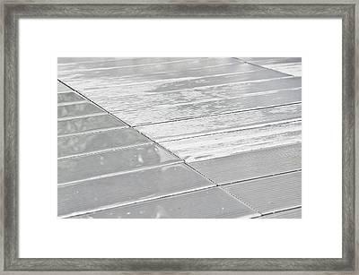 Wet Wooden Decking Framed Print by Tom Gowanlock