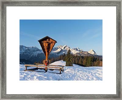 Wetterstein Mountain Range In Winter Framed Print