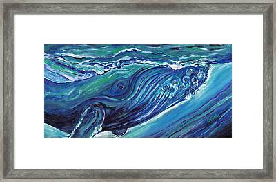 Whale Action Framed Print by Bev Veals