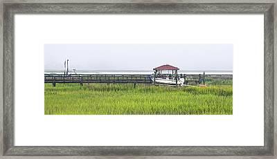 Whale Branch Dock - Fog Framed Print by Scott Hansen