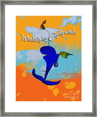 Whale Flying Flying Whale Framed Print by Mukta Gupta
